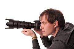 Hombres jovenes con las cámaras digitales Imagenes de archivo