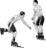 Hombres jovenes en los rodillos Imagenes de archivo