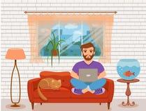 Hombres jovenes felices del Freelancer que trabajan en el sofá en la sala de estar casera stock de ilustración