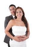 Hombre que abraza a su novia Imagen de archivo libre de regalías