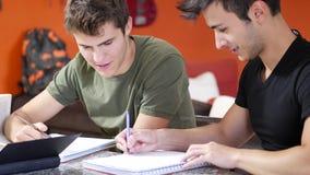 Hombres jovenes ocupados con estudios almacen de video