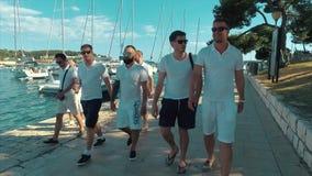 Hombres jovenes que caminan en el puerto deportivo almacen de video
