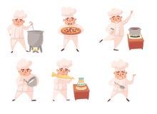 Hombres lindos del cocinero, personal del restaurante en uniforme Cocine el juego de caracteres de la historieta del vector aisla libre illustration