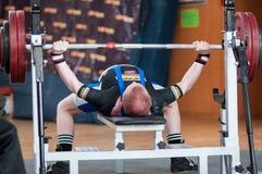 Hombres Powerlifting de la competencia Imágenes de archivo libres de regalías