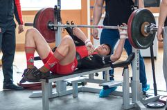 Hombres Powerlifting de la competencia Fotografía de archivo libre de regalías