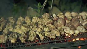 Hombres que cocinan la carne del pollo en parrilla de la barbacoa mientras que ascendente cercano de la comida campestre Carne de almacen de metraje de vídeo