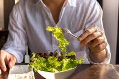 Hombres que comen una ensalada de las verduras foto de archivo libre de regalías
