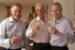 Hombres que disfrutan de Champán en un partido de cena foto de archivo