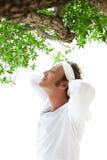 Hombres que hacen yoga bajo el árbol Imagen de archivo libre de regalías