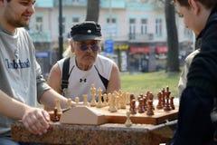 Hombres que juegan a ajedrez imagenes de archivo