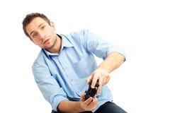Hombres que juegan a los juegos video Imagen de archivo libre de regalías