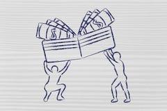 Hombres que levantan encima de la cartera con efectivo Foto de archivo libre de regalías
