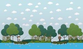 Hombres que pescan en el ejemplo plano del vector de los barcos libre illustration