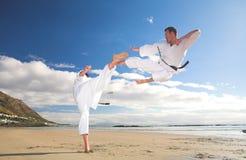 Hombres que practican karate Fotos de archivo libres de regalías