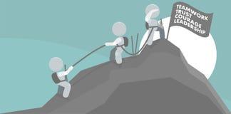 Hombres que suben la ilustración del trabajo en equipo de la cumbre de la montaña Imagenes de archivo