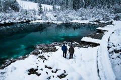 Hombres que toman las fotos en el zelenci hermoso en paisaje del invierno, Kranjska Gora, Eslovenia del lago del verde esmeralda Fotografía de archivo libre de regalías