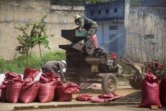 Hombres que trabajan en la clasificadora de los granos de café en la calle el 11 de febrero de 2012 en Nam Ban, Vietnam Fotografía de archivo