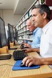 Hombres que trabajan en los ordenadores en biblioteca imágenes de archivo libres de regalías