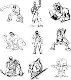 Hombres y guerreros de la fantasía Imagen de archivo libre de regalías