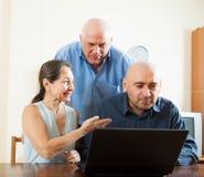 Hombres y mujer en casa en línea Fotos de archivo libres de regalías