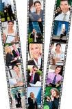 Hombres y mujeres acertados de negocios de la ciudad de la tira de película Fotos de archivo libres de regalías