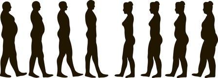 Hombres y mujeres de la pérdida de peso Imágenes de archivo libres de regalías
