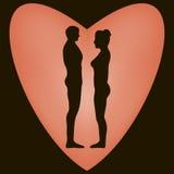 Hombres y mujeres de la silueta en el corazón Fotografía de archivo