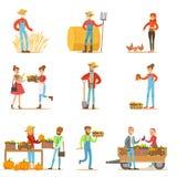 Hombres y mujeres de los granjeros que trabajan en la granja y que venden verduras de la agricultura biológica en mercado de prod stock de ilustración