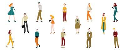 Hombres y mujeres de los personajes de dibujos animados que sostienen smartphones fijados Vector libre illustration
