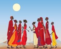 Hombres y mujeres del Masai stock de ilustración