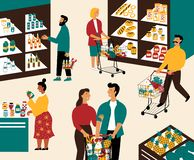 Hombres y mujeres que compran productos en el colmado Gente con los carros de la compra en el supermercado Clientes en tienda al  stock de ilustración