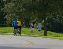 Hombres y mujeres que ejercitan en el parque Imagen de archivo
