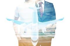 Hombres y multiexposure del aeroplano Imagenes de archivo