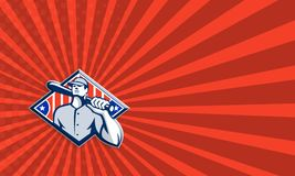 Hombro del palo del bateador del talud del béisbol retro ilustración del vector