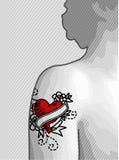 Hombro tatuado corazón Imagen de archivo libre de regalías