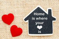 A HOME é o lugar onde seu coração está fotografia de stock