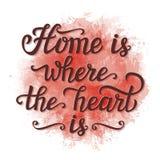 'Home é onde o coração é' cartaz Ilustração Stock