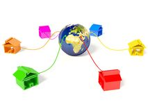 Home. Colored house around earth on white Stock Image