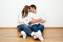 Home. Happy lifestyle couple enjoying new real home after move Stock Images
