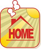 Home. Ilustration with sun behind Royalty Free Stock Photo