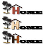Home. Icon with a roofed H indicating Stock Photo