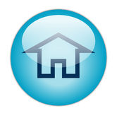 Home. Glassy Blue Home icon logo button Stock Photography