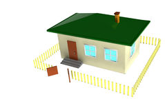 Home 3d. Three-dimensional house on a white background Royalty Free Stock Photo