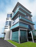 Home 3d. Render building blue Royalty Free Stock Images