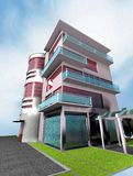 Home 3d. Render building red Stock Photos
