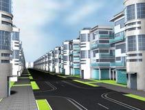 Home 3d. Street city blue 3d render Home Stock Photo