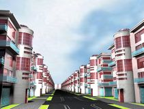 Home 3d. City Street 3d render red Stock Images