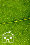 Home. Sign on green leaf closeup Royalty Free Stock Photo