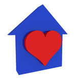 Home #7. Three-dimensional model - a silhouette of a house and a heart Royalty Free Stock Photos