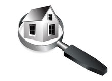 Home. Under the magnifying Glass on isolated background Royalty Free Stock Images